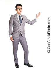 Business man presenting - Full length picture of a young...