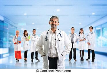 Multiracial diversity Asian medical team