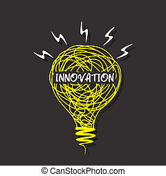 creative innovation word on bulb
