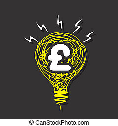 creative pound symbol on bulb - creative pound symbol on...