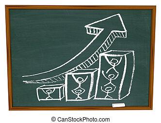 Team Pushing Up Arrow on Chalkboard - A team working...