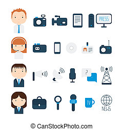 Set of flat colorful vector journalism icons. Mass media....