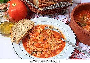 Greek white bean soup horizontal - A meal of Greek white...