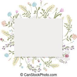 Spring floral frame for your design, vector illustration