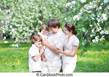 schöne, kleingarten, familie, baum, junger, Apfel