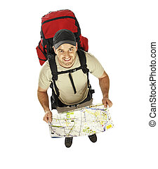 man with backpack and map