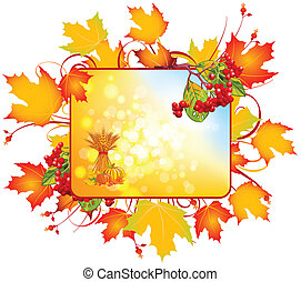 autumn sign - Autumn rectangular sign. Abstract autumn sign....