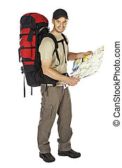travel man background - travel image of young caucasian man...