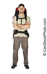 standing traveller - travel image of young caucasian man...