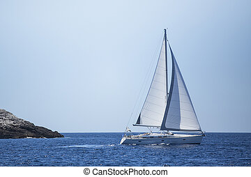 Sailing in the sea. Yachting. Luxury yachts.