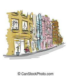 Sketch of old street for your design. Vector illustration