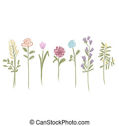 Set of flowers sketch for your design