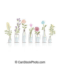 Set of floral pots for your design, vector illustration