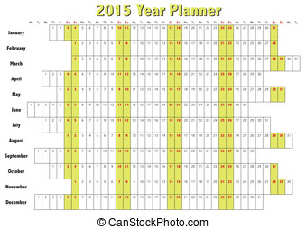 2015 Year Planner - 2015 Year planner in english. Annual...
