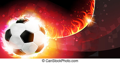 Flaming soccer ball on a burning background