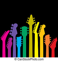 rainbow of guitars - A vector background with a rainbow of...