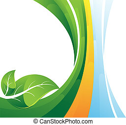 Green leaves on striped background - Two green leaves on...