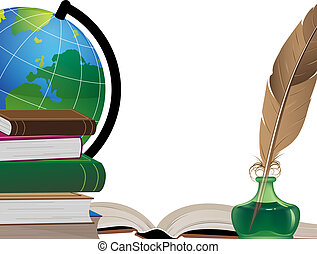 School background - Old books, globe, feather and inkwell on...