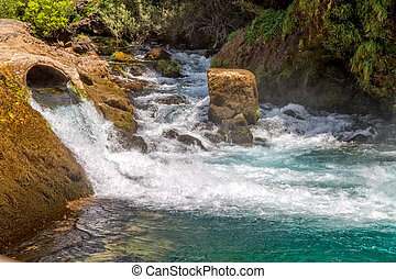 Water flow in the river Krka from Krcic waterfall and...