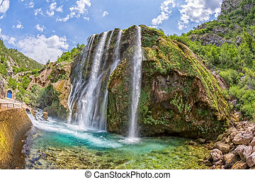 Waterfall Krcic fisheye - Horizontal fisheye shot of...
