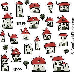 Set of houses, sketch for your design Vector illustration
