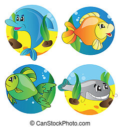 Vector set of images of the marine life - Vector...