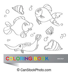 Coloring book - marine life - Coloring book - set of images...