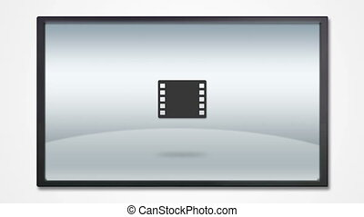 TV display with media icon HD - multimedia tool icons is...