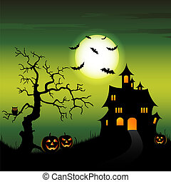 Halloween night backdrop with castle and pumpkins vector eps...