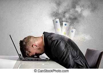Discharged businessman - Stressed businessman with explosion...