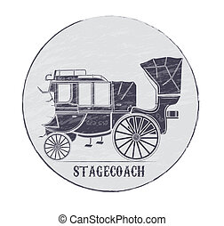 stagecoach - grungy logo at the bottom of the text of the...