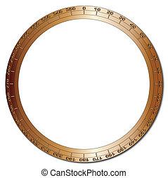 Bezel - A brass bezel segmented into 360 degrees over a...