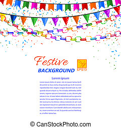 Festive garland, streamers and flags isolated on a white...
