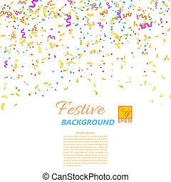 Festive confetti and streamers isolated on white background....
