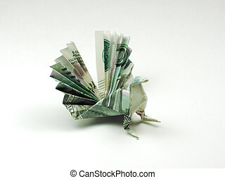 bird origami of one thousand rubles