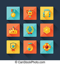 Trophy and awards icons set in flat design style