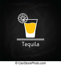 Illustration with glass of tequila for menu cover.