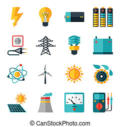 Set of industry power icons in flat design style