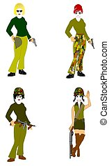 military women - women in military attire with weapons