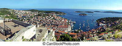 Hvar city panorama - Aerial view in panorama of Hvar in...