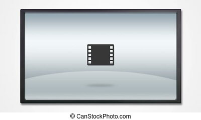 TV display with media icon - multimedia tool icons is...