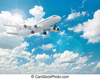 Airplane in the blue sky. Three-dimensional image. 3d