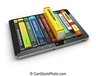 E-learning Tablet pc and textbooks Education online 3d