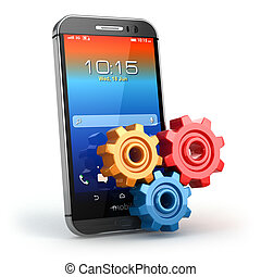 Mobile phone and gears. Settings - Mobile phone and gears on...