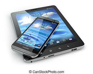 Mobile devices. Smartphone and tablet pc on white isolated...