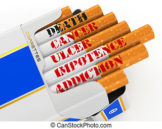 Smoking kills Cigarette pack with text cancer and death 3d