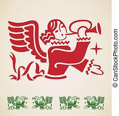 Christmas Angel, vintage design element