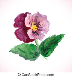 watercolor flower, vector design element