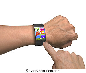 finger touch apps on ultra-lightweight curved-screen smart...