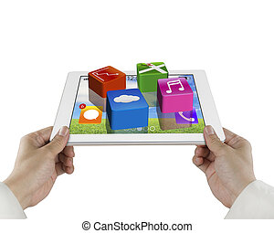 male hand hold tablet with apps isolated on white